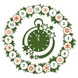 Happy New Year 2019 card. Christmas wreath, clock. Christmas wreath with fir branches, clock, snowflakes. New year and christmas symbols. Happy New Year 2019 vector illustration