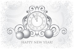 Happy New Year card with clock and decorations Royalty Free Stock Image