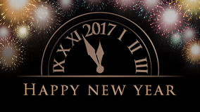 Happy New Year card with 2017 clock, fireworks. Happy New Year card with 2017 clock, colorful fireworks and golden Happy New Year text on black background Royalty Free Stock Photography