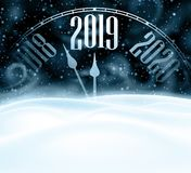 Happy New Year 2019 card with clock, snow and blizzard. stock photos