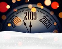 Happy New Year 2019 card with clock and snow. Vector background stock illustration
