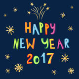 Happy New Year 2017 card with colorful creative typography. Stock Image