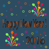 Happy New Year 2016 card. Colorful happy new year 2016 card over the blue background with geometric elements Stock Photos
