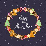 Happy New Year card with Cookies and snowflakes with inscription in the middle. Invitation or greeting card. Happy New Year. Vector illustration Stock Image