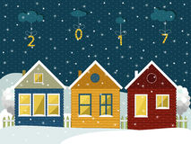 Happy New Year Card. With Cozy Wooden Houses Stock Photo