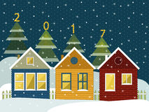 Happy New Year Card. With Cozy Wooden Houses And Christmas Trees Royalty Free Stock Images