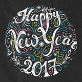 Happy New Year 2017 card with creative typography. Royalty Free Stock Photo