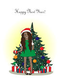 Happy new year! card with cute black woman Stock Photos