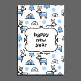 Happy new year card with cute cartoon reindeer. Vector doodle caribou, and icebergs. Arctic animal wears scarf Royalty Free Stock Image