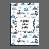 Happy new year card with cute cartoon seal Stock Images