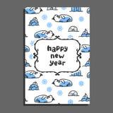 Happy new year card with cute cartoon walrus Stock Photos