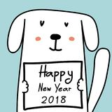 Happy New Year 2018 Card With Cute Dog. Royalty Free Stock Photos