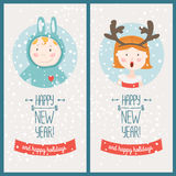 Happy new year card. With cute girl and boy. Vector illustration Happy new year and happy holidays Vector Illustration