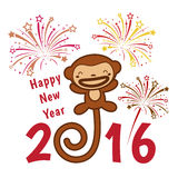 Happy new year 2016 card is cute monkey and firework stock illustration