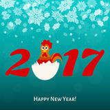 2017. Happy New year  card  with cute rooster. 2017.Happy New year greeting  card  with fun rooster.  Holiday vector  illustration Royalty Free Stock Photo