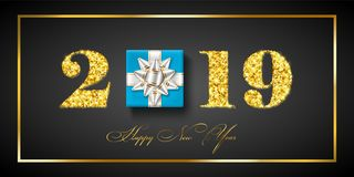 Happy New year card. 3D gift box, ribbon bow, gold number 2019 isolated black background. Golden texture Christmas. Glitter design. Holiday celebration vector illustration