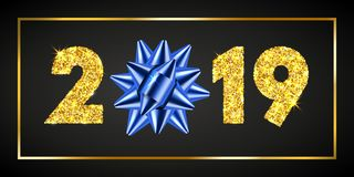 Happy New year card. 3D gift box, ribbon bow, gold number 2019 isolated black background. Golden texture Christmas. Glitter design. Holiday celebration royalty free illustration