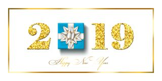Happy New year card. 3D gift box, ribbon bow, gold number 2019 isolated white background. Golden texture Christmas. Glitter design. Holiday celebration vector illustration