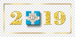 Happy New year card. 3D gift box, ribbon bow, gold number 2019 isolated white transparent background. Golden texture. Christmas glitter design. Holiday royalty free illustration