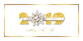 Happy New year card. 3D gift ribbon bow, gold frame number 2019 isolated white background. Golden texture Christmas. Happy New year card. 3D gift ribbon bow royalty free illustration
