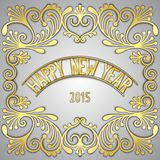 Happy New Year card. Happy New Year 3D golden signboard with jewelry frame. Vector eps 10 royalty free illustration