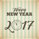 Happy new year card. Happy new year 2017  card with decorative clock icon. colorful design. vector illustration Royalty Free Stock Photo