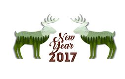 Happy new year card. Happy new year 2017 card with decorative deers icons over white background. colorful design. vector illustration royalty free illustration