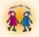 Happy New Year card. Happy New Year decorative card with two cute little girls Royalty Free Stock Photo