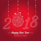 Happy new year card. The year depicted in the hand-painted style. Christmas toy with the hand painted Christmas icons. Stock Image