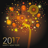Happy New Year Card design. Orange fireworks on a happy glowing tree design Royalty Free Stock Photo