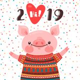 2019 Happy New Year card design. Symbol of the Chinese calendar cute pig greets with love. Piglet in a knitted sweater. Vector illustration in cartoon style royalty free illustration