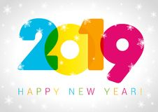 2019 Happy New Year card design. Vector happy new year greeting illustration with colored 2019 numbers and snowflake royalty free illustration