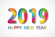 2019 Happy New Year card design. Vector happy new year greeting illustration stock photo