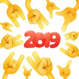 2019 Happy New Year card design with yellow emoji hands. Vector illustration royalty free illustration