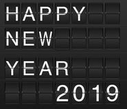 Happy New Year 2019 card in display board solari board, flightb. Happy New Year 2019 card in display board style solari board, flightboard, flipboard, black and vector illustration