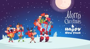 Happy New Year Card With Elves, Reindeer And Santa Carrying Gift Boxes. Stacks Over Winter Night Christmas Holiday Presents Concept Vector Illustration vector illustration