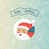 Happy new year card. Erry christmas card with santa claus on gradient background with gifts. Vector illustration EPS10 Royalty Free Stock Image