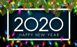 Happy New Year 2020 card with fir branches and decorative lanter. Blue Happy New Year 2020 shiny card with white frame, fir branches and colorful decorative vector illustration
