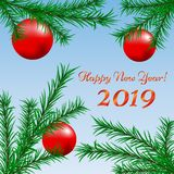 Happy new year card with fir branches. And red Christmas balls stock illustration