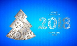 Happy new year fir tree. Happy new year card with fir tree made from gears over blue background. Vector illustration Royalty Free Stock Photo
