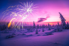 Happy New Year card with firework, forest and northern light. 2017 Stock Photos