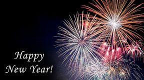 Happy new year card with fireworks royalty free stock photos