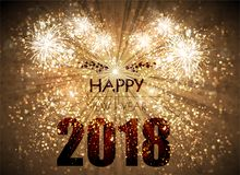 Happy New Year card with fireworks. Stage, light, spotlight, background, fireworks, year, new, happy, Happy New Year, New Year stock illustration