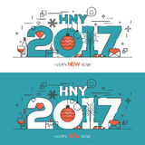 Happy New Year Card flat line design. Flat Thin Color Line Concept of Happy New Year 2017, trendy and minimalistic card or background. Modern Thin Contour Line Royalty Free Illustration