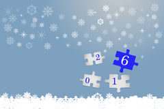 Happy new year card. Four white puzzle pieces with numbers 2016. The part with number number six is in blue color. All is on the trendy blue gradient background Stock Photos