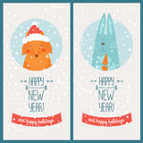 Happy new year card. With fox and christmas rabbit. Vector illustration Happy new year and happy holidays Stock Photo
