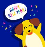 Happy New Year card with fun yellow dog and confetti on blue background. Flat style. Vector stock illustration