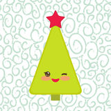 Happy New Year card. Funny green Christmas tree Royalty Free Stock Image