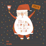 Happy New Year card with funny illustration Santa. Vintage Merry Christmas And Happy New Year card with a cute and funny illustration Santa, who smiles and waves Stock Photo