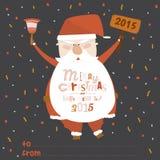 Happy New Year card with funny illustration Santa Stock Photo